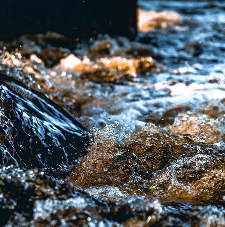 kabbelende beek met bronwater