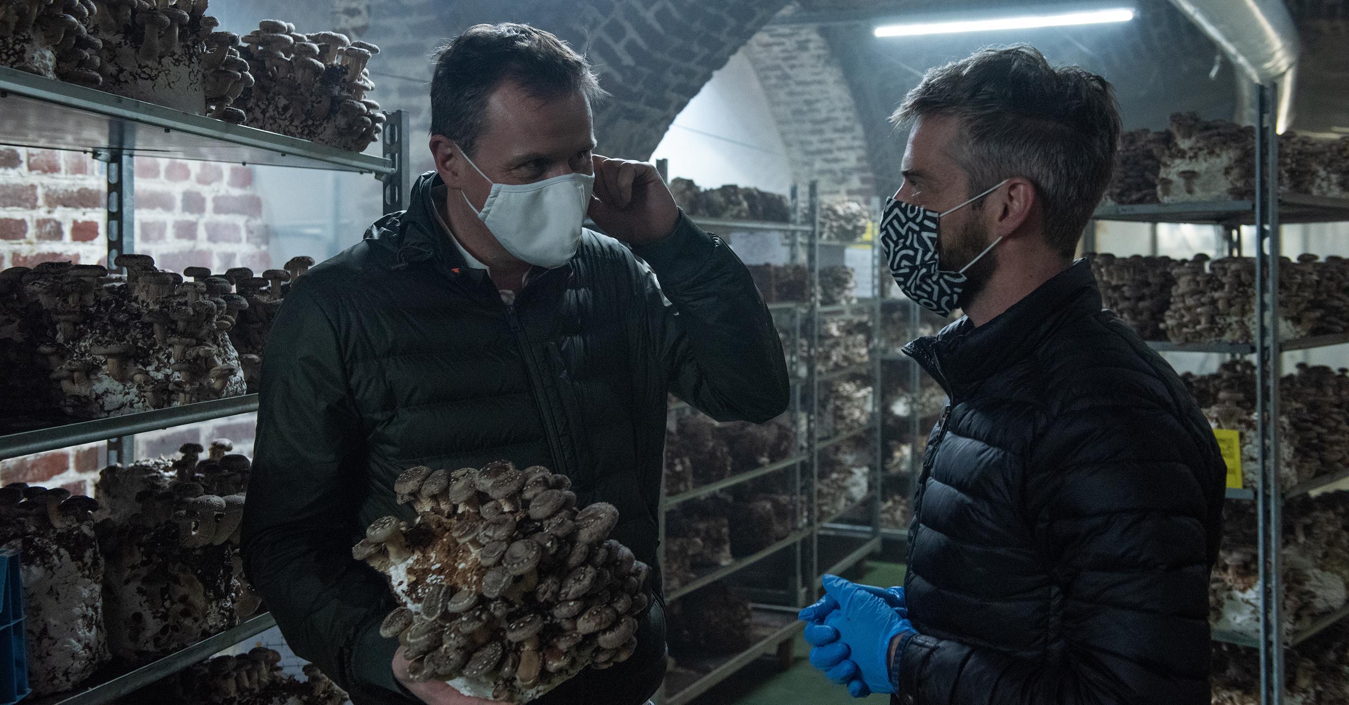 Christophe Hardiquest bij Le Champignon de Bruxelles met zijn lokale producent