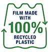 Film made with 100 recycled plastic